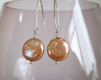 Orange Fresh Water Coin Pearl and sterling silver earrings UK made