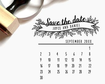Custom Calendar Save-the-Date Cards Pre-Designed Rubber Stamp - Branding, Packaging, Party, Invitations, Tags, Wedding - W006