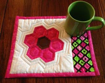 Hot Pink Hexie mug rug set with 12 oz. mug
