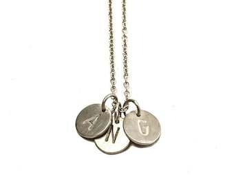 Necklace, letters, silver