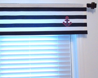 ANCHOR Straight Valance  Boys  Bedroom Nautical Window Topper Navy/  Red/ White   Custom Sizing Available!