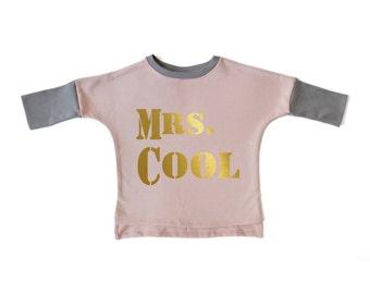 Baby Girl Clothes - Baby Girl Top, Baby Girl Shirt, Baby Girl Sweatshirt, Baby Top, Organic Baby Clothes, Organic Baby Girl - Pink Mrs Cool