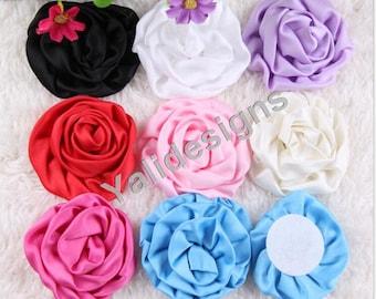 8pcs Wholesale 8cm 3'' inch Creped Satin Flower - DIY Headband Accessories- Fabric Flower Mixture Color  YTA40