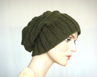 Hand Knit Hat Slouch Hat For Women or Men Deep Olive Wool Hat Fall Fashion Winter Fashion --- Ready to Ship