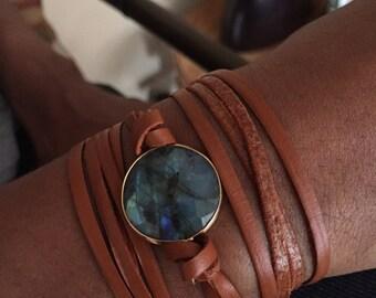 Labradorite leather wrap bracelet- 18 k gold overlay sterling silver