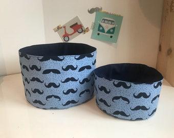 Duo fabric storage baskets / storage pouch / basket blue mustaches
