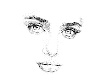 digital print ink portrait of a woman
