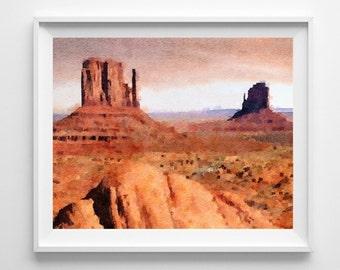 Monument Valley Print,Utah Print,Painting,Art Print,Home Decor,Wall Art,Pic no 62