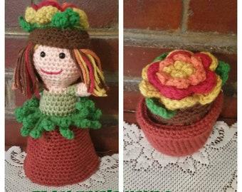 Topsy Turvy crochet flower pot doll.