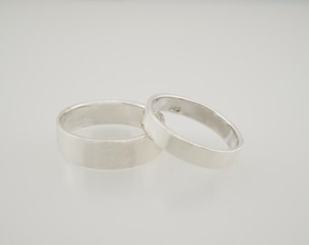 Sterling Silver Wedding Ring Set - His and Hers Wedding Rings - Sterling Silver wedding band set - sterling silver wedding rings