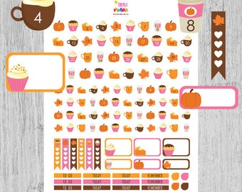 60% OFF fall count down planner stickers, numbers stickers, day cover stickers, vertical/horizontal, box stickers, printable, pumpking