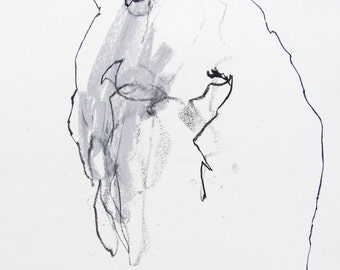 """Minimal Modern Figure Drawing  - 11 x 14"""",  fine art - Drawing 296 - charcoal and pastel on paper - original drawing"""
