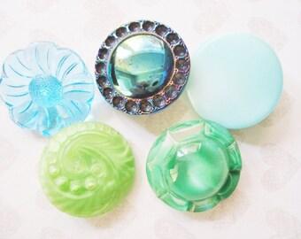 Fancy Aurora Borealis Button - 5 Assorted Vintage Czech Button - Fancy Green Glass Button - Fancy Aqua Glass Button - Scalloped Glass Button