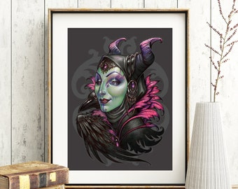 MALEFICENT PRINT art nouveau Sleeping beauty wicked witch dragon crow DinA4 8x11'' - signed-  H.Q 350g matte couche paper medusa dollmaker