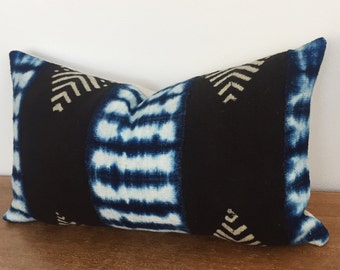 Blue, White and Black Handwoven African Mudcloth // 11 x 19