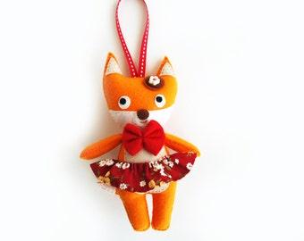 Fox Doll Felt Ornament, Handmade Fox Cloth Doll, Animal Ornament, Fox Felt Doll, Soft Animal Plush, Stuffed Kids Toy, Gift for Her,