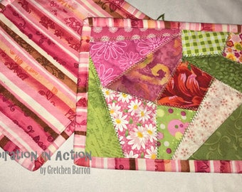 Shades of Pink Crazy Quilt Mug Rugs -- Set of Two (2) -- Snack Mats, Mini Placemats, Centerpiece, Small Wall Hanging