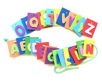 Montessori Alphabet Lacing Toy, Alphabet Activities for Toddlers, Alphabet Letter Beads, Fine Motor Toys, OT & Sensory Toys