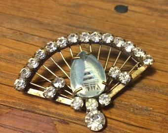 Vintage Glass Chinese Pagoda Metal Fan Brooch