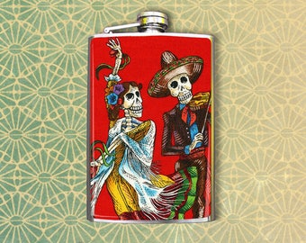 Flask 8oz Dancing Skeletons #117