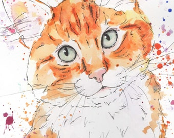 Custom Colorful Painted Cat Portrait - Personalized Watercolor Painting - Acrylic, Pen, Ink and Water Color - Dog Cat & Pet Color Art