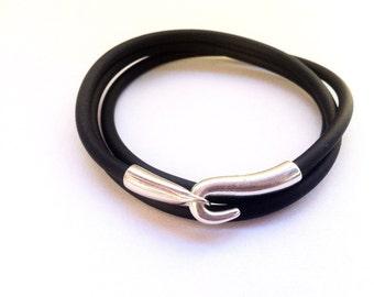 Vegan bracelet, rubber bracelet, hook clasp, mens bracelet, bracelets for mens, simple bracelet, plus size, silver, wrap bracelet