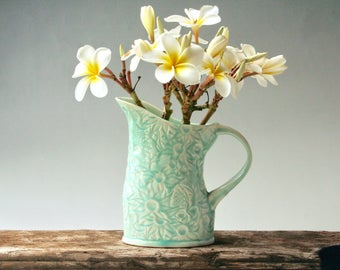 Teal Pitcher with Australian Flannel Flowers