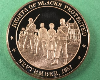 Franklin Mint Medal History Of United States Series  Rights Of Blacks Protected 1957, 44 mm Bronze Mint Condition<>#PSY-179