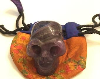 Nice Amethyst Pocket Skull Memento Mori