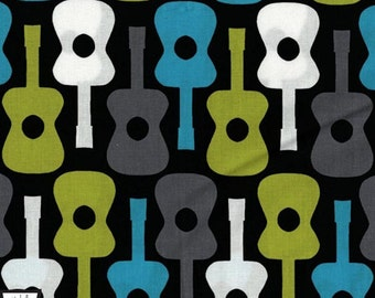 Groovy Guitars Fabric - Lagoon - sold by the 1/2 yard