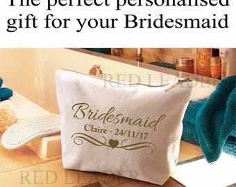 Personalised Bridesmaid Make Up Cosmetic Wash Bag NAME DATE Wedding Gift Bridal Party Keepsake Gift
