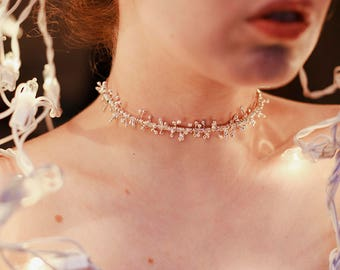 Spiky Silver Choker Necklace - Coiled Silver Spoke Choker - Silver Fringe Choker - Gift for Her