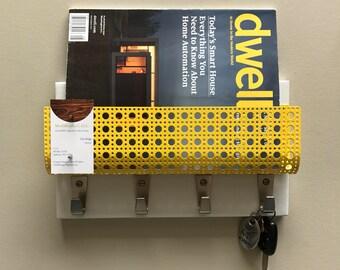 Mid century Modern white & powder coated steel magnetic magazine rack mail holder phone iPad wallet pocket coat key rack office organizer