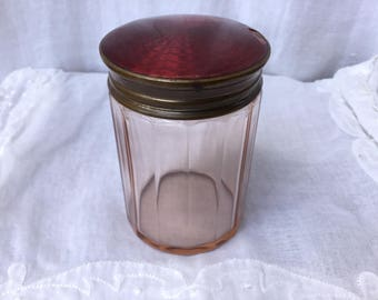 Vintage Pink Glass Jar With Brass Pink Guilloche Lid