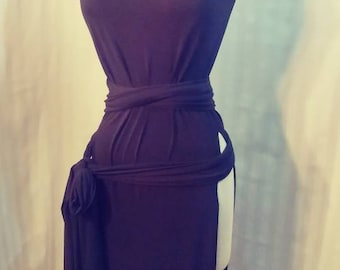 Custom Black Knit Genevieve Gown Slit Dress