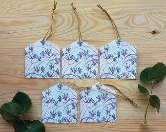 5Pack Kangaroo Paw,  Australian Native Flora, Birthday/occasion Gift tags eco friendly bamboo paper