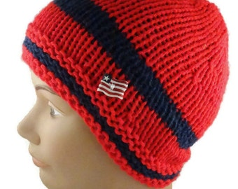 Hand Knit  Beanie  Red and Navy knit hat  Patriotic knit hat Handmade Hat