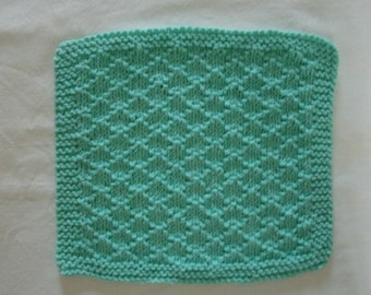 Hand Knit Cotton Dishcloth or Washcloth - measures approximately 9x9 inches - color is called Seabreeze