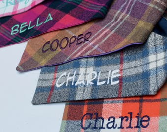 Personalized Flannel Grey Blue and Red Plaid Dog Bandana     Pet Gift by Three Spoiled Dogs