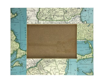 Reurposed Atlas Page Picture Frame- Massachusetts