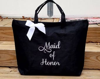 Maid of Honor Personalized Tote Bag Mother of the Bride Mother of the Groom Wedding Tote Grandmother Bride MOB MOG Monogrammed Gifts