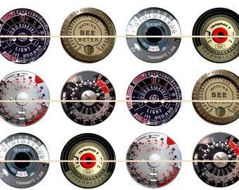 "Steam Punk Light Meters, Vintage Light Meters, Antique Light Meters, Light Meter Pins, Light Meter Magnets, Light Metor Cabochons, 1"", 12 ct"