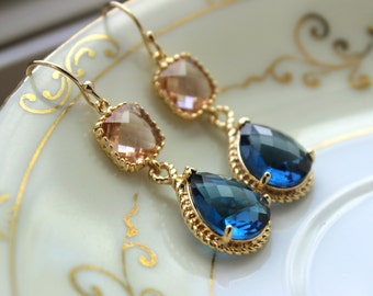 Gold Blush Jewelry Champagne Earrings Sapphire Earrings Navy Blue Earrings Peach Jewelry Bridesmaid Earrings Wedding Bridesmaid Jewelry