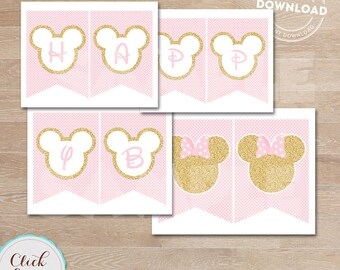 Minnie Pink and Gold Banner, Glitter Gold, Polka Dot pink Minnie mouse, Party Decorations, Minnie party printable DIY INSTANT DOWNLOAD