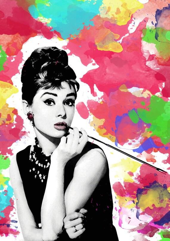Audrey Hepburn digital download Poster Print breakfast at