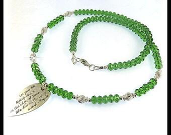 Fern Green Swarovski crystal necklace, green jewelry, Leaf Pendant, Crystal necklace, Crystal jewelry, green crystals, handmade jewelry