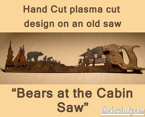 Metal Art Bears at the Cabin design Hand cut plasma torch