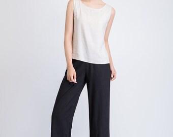 black wide leg pants, black women pants, high waist trousers, maxi linen pants, comfortable pants, retro pants, loose pants, handmade 1937