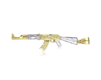 10K Solid Yellow White Gold Rifle Gun Pendant - AK-47 Machine Necklace Charm