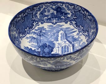 """George Jones & Sons """"Abbey 1790"""" pattern blue and white transfer ware fruit or serving bowl"""